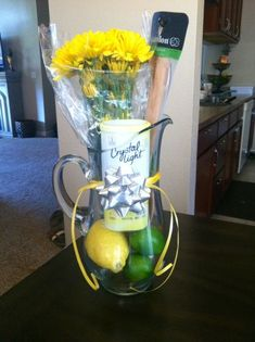 Mother-In-Law Birthday Gift - Pitcher - Flowers - Lemonade - Easy - Creative - F. Mother-In-Law Birthday Gift - Pitcher - Flowers - Lemonade - Easy - Creative - Functional. Teacher Appreciation Gifts, Teacher Gifts, Teacher Gift Baskets, Employee Appreciation, Mother In Law Birthday, Wine Gift Baskets, Basket Gift, Mother In Law Gifts, Diy Gifts For Friends