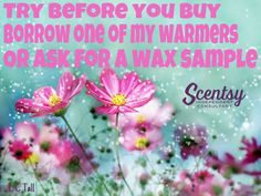 Don't be shy......See for yourself why so many people are loving Scentsy Borrow my warmer,try some wax samples....What you got to loose?