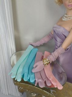 Opera and Mid length Gloves for Fashion dolls, Silkstone Barbie, Gene
