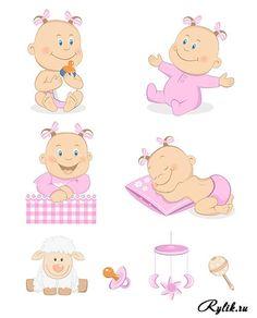 Малыши, дети вектор - нарисованные мальчики и девочки с сосками-пустышками и игрушками