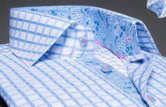 Pour PJ Chemise homme Reverso à carreaux bleus doublure fleurie Double Retors, Xoos