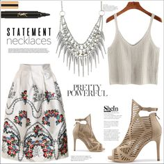 collared: statement necklace by mycherryblossom on Polyvore featuring polyvore, fashion, style, Yves Saint Laurent, clothing, polyvoreeditorial, polyvorestyle, statementnecklaces and summer2016