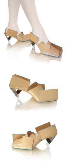 Beigefoldedshoe / 2009 Materials: Vegetable tanned leather and stainless steel heel Beigefoldedshoe is made from a single piece of folded le...