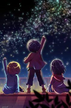 Eren Jäger, Armin Alert and Mikasa Ackerman. Shiganshina Trio Attack On Titan / SnK