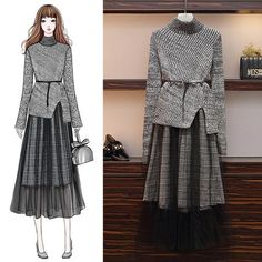 Sweater Suits for Autumn and Winter Age Reduction – Orchidmet Fashion Drawing Dresses, Fashion Illustration Dresses, Fashion Dresses, Korean Girl Fashion, Ulzzang Fashion, Hijab Fashion, Mode Kpop, Dress Sketches, Looks Chic