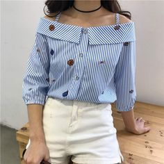 2018 Spring fashion print embroidered shoulder slash neck blouse new blouse new word spread word long-sleeved shirt striped Women's Summer Fashion, Autumn Fashion, Embroidered Clothes, Embroidered Blouse, Long Blouse, Spring Dresses, Dresses Dresses, Fashion Dresses, Streetwear Fashion