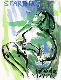 Sef Berkers. STARRING paintings. Regarde la Mer, 2020, 65 x 50 cm / 25.5 x 19.5 in. Oil on paper, $ 645.00 Star Painting, Film Images, Human Condition, Film Posters, Human Body, Paintings, Oil, Stars, Paper