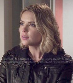 Hanna's black leather jacket on Pretty Little Liars.  Outfit Details: http://wornontv.net/50463/ #PLL