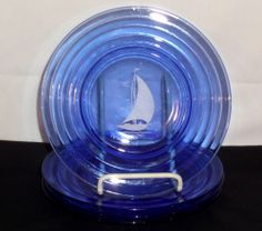 "Hazel Atlas SPORTSMAN SERIES SHIPS BLUE & WHITE *8"" SALAD PLATES*"