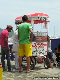Cevicheria El Jose - street seafood for sale by the beach in Santa Marta, Colombia.