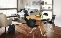 Bradshaw Table & Eames® Chairs Dining Space - Dining - Room & Board