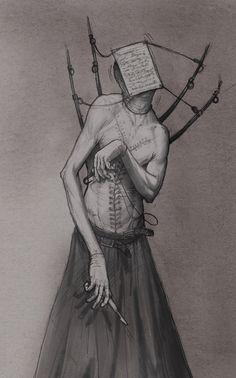The ultimate in nightmare fuel art: Anastasios Gionis Creepy Drawings, Creepy Art, Monster Design, Monster Art, Creature Concept Art, Creature Design, Arte Horror, Horror Art, Dark Fantasy Art
