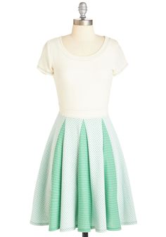 Connecting the Dots Dress - Green, Tan / Cream, Polka Dots, Stripes, Casual, A-line, Short Sleeves, Spring, Knit, Mid-length