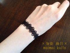 Tatting lace tatting lace black bracelet