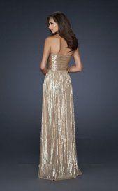 Shimmering Long Strapless Gold Prom Dresses 2013