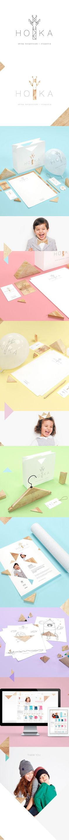 HOKA clothes for children by Joanna Namyślak, via Behance identity, packaging, branding PD Logo Design, Web Design, Brand Identity Design, Graphic Design Branding, Logo Branding, Creative Design, Branding Agency, Brand Design, Corporate Design