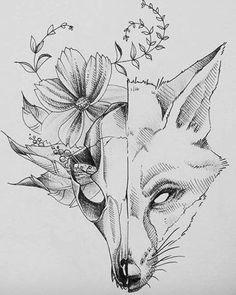 Skizze Fuchs: 21 Tausend Bilder in Yanda gefunden Kunst - tattoo s. - Skizze Fuchs: 21 Tausend Bilder in Yanda gefunden Kunst – tattoo style Sketch fox: - Tattoo Sketches, Tattoo Drawings, Drawing Sketches, Art Drawings, Fox Drawing, Tattoo Ink, Cat Skull Tattoo, Deer Skull Tattoos, Skeleton Drawings