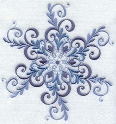 SPARKLING SNOWFLAKE 2--- MACHINE EMBROIDERED QUILT BLOCK (AZEB)
