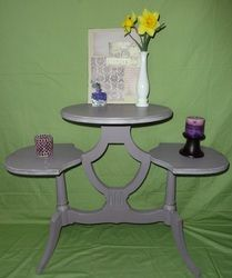 "3 Tiered Purple Table done in Annie Sloan Chalk Paint, ""Emile"".  I darkened some with Graphite for trim etc.  Then lightened some and dry brushed on trim etc.  Clear and dark wax glaze.  Perfect plant table!"