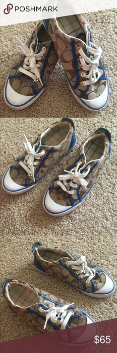 Coach 6.5B brown and blue patent leather sneakers Comfortable and fun coach size 6.5 lace up brown logo fabric sneakers with contrasting blue patent leather detailing she was only been worn a couple times and are in excellent condition. Coach Shoes Sneakers