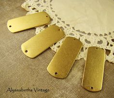 Large Raw Brass Stampings ID Tags Connectors by alyssabethsvintage, $3.65