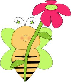 Flower Clip Art | Green Star Bee with a Pink Flower Clip Art Image - cute whimsical bee ...