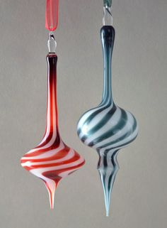 Red & White Hand Blown Ornament by TeriSokoloffGlass on Etsy