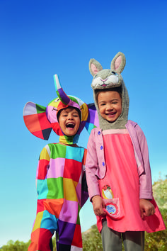Who wouldn't have a smile on their face dressed up as Elmer the Patchwork Elephant and Lily Bobtail?