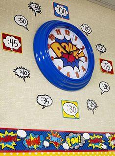 Check out this Superhero clock! The popular Superhero Themed Classroom from… Superhero School Theme, Superhero Classroom Decorations, Superhero Room, School Themes, Classroom Themes, Superhero Party, School Ideas, Classroom Layout, Classroom Walls
