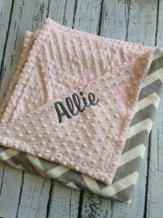 Monogrammed chevron minky baby blanket. by GentrysCloset on Etsy, $45.00
