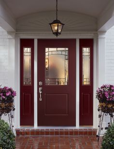 Colonial Style entryway and porch area Featuring: Belleville Series Masonite exterior door with Element style decorative glass - April 24 2019 at Deck Design Software, Exterior Solutions, Fiberglass Entry Doors, Exterior Doors With Glass, Garage Door Design, House Front Door, Front Porch, Hacienda Style, Cool House Designs