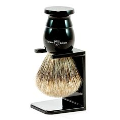 Edwin Jagger Best Badger Shaving Brush and Stand in Ebony, Extra Large