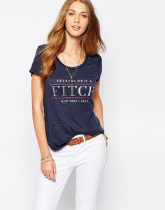 Image 1 ofAbercrombie & Fitch Text Logo T-Shirt