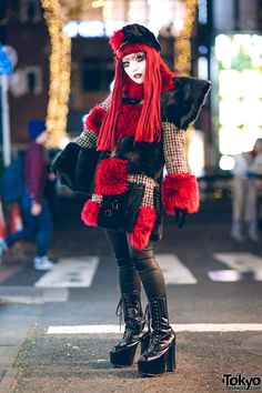 Japanese shironuri artist Minori on the street in Harajuku wearing handmade, remake, and vintage fashion. Full Look Japanese Street Fashion, Tokyo Fashion, Harajuku Fashion, Fashion 2020, Harajuku Japan, Fashion News, Edgy Outfits, Fashion Outfits, Tokyo Street Style