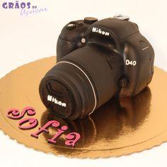 Máquina Fotográfica Nicon   Esculpido   bolo canon   Grãos de Açúcar - Bolos decorados - Cake Design