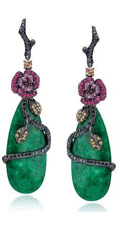 Rose Motif Jade Drop Earrings by Cellini Jewelers | Haute Tramp