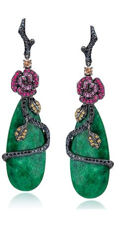 Rose Motif Jade Drop Earrings by Cellini Jewelers | Haute Tramp