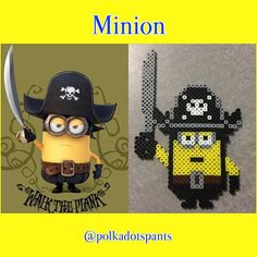 Pirate minion perler beads by polkadotspants