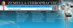 Zemella Chiropractic  Santa Barbara Chiropractor 3022 State St. Suite B Santa Barbara, CA 93105 Phone: 805-687-6629 Fax: 805-687-0675 Chiropractic Adjustment, Chiropractic Wellness, Santa Barbara, Sciatica, Neck Pain, Way Of Life, Pain Relief, Helping People, Counseling