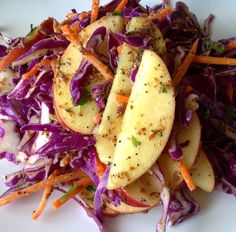 Fresh citrus, flax seeds, and a touch of honey mustard make a quick, creamy dressing for this light summer slaw.  Sliced apple adds a note of healthy, natural sweetness.  Shred your own red cabbage or a buy a pre-shredded mix for an even easier recipe.  Use this oil-free, plant-based vegan recipe to top Super Green Sliders or serve as a side for Chipotle Baked Beans.