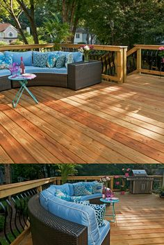 Pressure-treated deck in Alpharetta, GA - designed and built by Atlanta Decking. Decking Fence, Fencing Companies, Decking Material, Georgia Homes, Deck Design, Outdoor Furniture, Outdoor Decor, Home Buying, Natural Wood