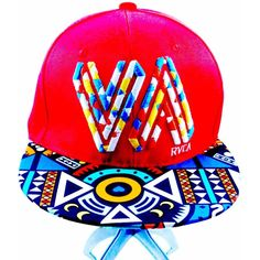 80s Retro Red Multi-Colored Celestial Graphic Printed Flat Brim Adjustable Snapback