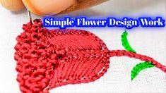 Simple Flower Design Work Using Thread Work And Kont Work Simple Flower Design, Simple Flowers, Flower Designs, Simple Designs, Aari Embroidery, Embroidery Works, Sugar Beads, Zardosi Work, Designer Blouse Patterns