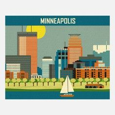 Minneapolis skyline print Horizontal Art Poster Print for Home, Office, and Nursery - style 11 x 14 sold by Loose Petals. Shop more products from Loose Petals on Storenvy, the home of independent small businesses all over the world. Minneapolis Skyline, Pittsburgh Skyline, Minneapolis Minnesota, Hallmark Greeting Cards, City Art, Travel Posters, Canvas Art Prints, Poster Prints, Wall Art