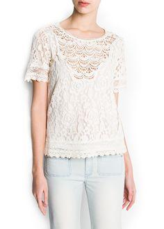 MANGO - CLOTHING - Tops - Guipure embellished lace blouse
