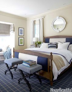 Bold blue-and-white stripe on Restoration Hardware's Directoire bed.