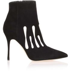 Manolo Blahnik Milocus Black Suede Ankle Boot (1,010 CAD) ❤ liked on Polyvore featuring shoes, boots, ankle booties, suede booties, short black boots, black stiletto booties, black bootie and ankle boots