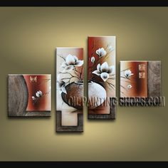 Wieco Art Large Size Decorative Elegant Flowers 4 Panels Hand-painted Modern Contemporary Artwork Floral Oil Paintings on Canvas Wall Art for Home Decorations Wall Decor L >>> Learn more by visiting the image link. (This is an affiliate link) Hand Painting Art, Large Painting, Oil Painting Abstract, Abstract Art, Oil Paintings, Painting Canvas, Modern Paintings, Abstract Flowers, Paintings Online