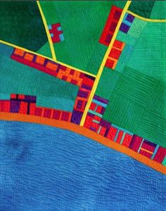 art quilt maps | By the Seaside map art quilt by Alicia Merrett | architectural quilts