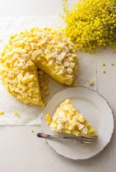 Italian Mimosa Cake - a delicious sponge cake recipe with layers of Italian cream, a classic Italian cake, a delicate creamy dessert.